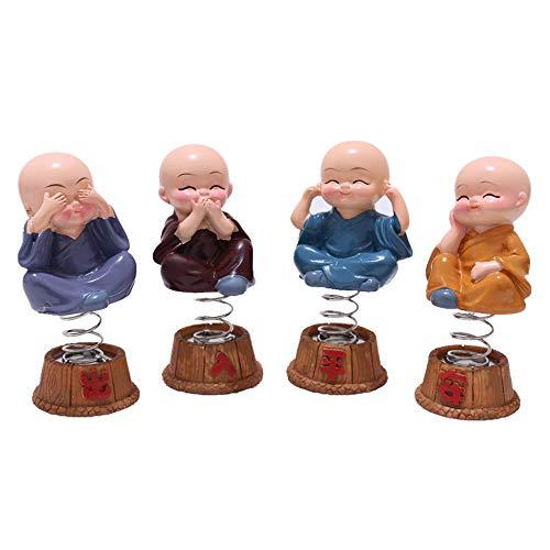 LOOPIG 4Pcs/Set Car Resin Bobble Heads Doll Figure Decoration Monks Buddha Auto Pendant Charms