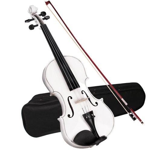 Jago 4/4 viool viool voor beginners incl. koffer, boog, brug en colophonium in drie verschillende kleuren wit