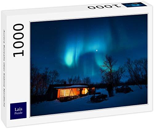 Puzzle Aurora Boreal sobre la cabaña Luces del Norte 1000 Piezas