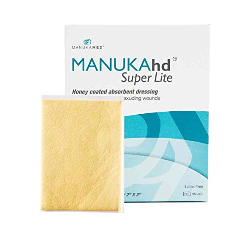 MANUKAhd® Super Lite Absorbent Dressing with Medical Manuka Honey | Honey Alginate Dressing for High Exuding Wounds | Use as Burn Dressing | by MANUKAMED® Global Leaders in Wound Care | 10 per Box