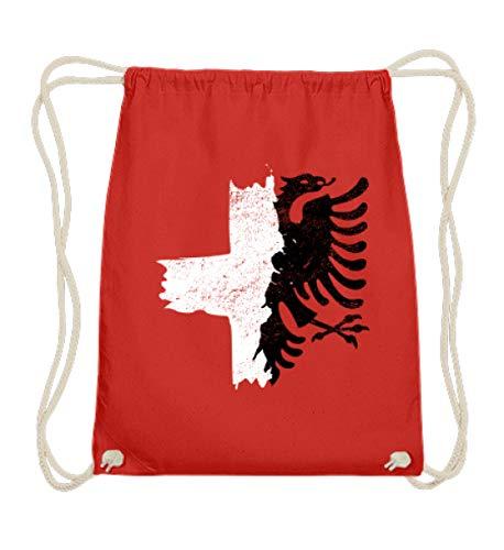 ALBASPIRIT Halb Albanien Schweiz Fahne T-Shirt Albanischer Adler Kreuz Schweizer Flagge - Baumwoll Gymsac