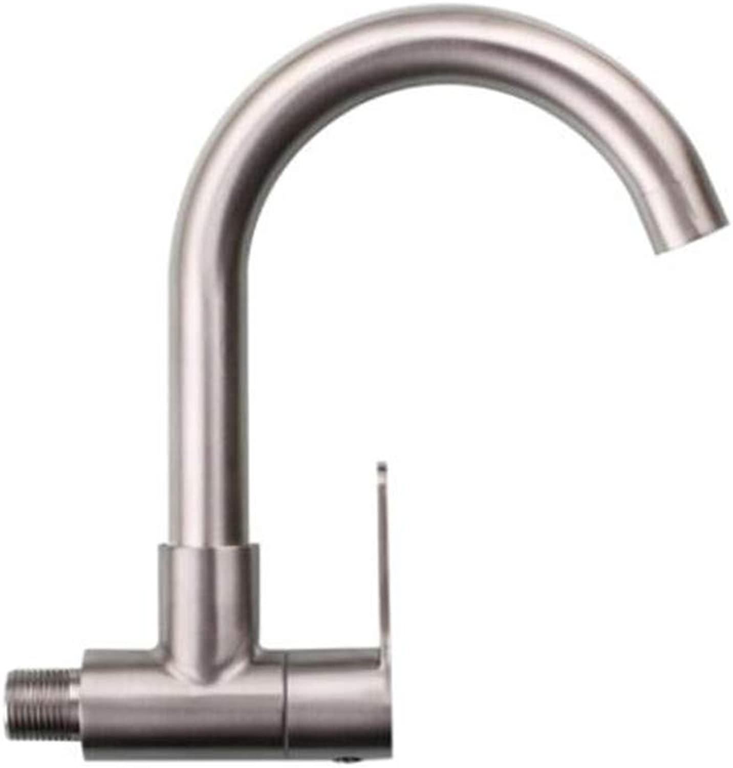 Bathroom Sink Basin Lever Mixer Tap Su304 Stainless Steel Single-Cooled Wall Basin Faucet Wall Washbasin 4