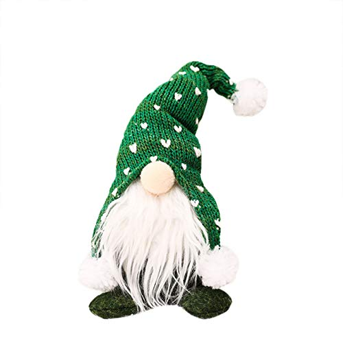 winwintom Christmas Tree Ornaments Faceless Doll Plush Long Hat Forest Man Santa Claus, Birthday Present Holiday Home Table Decor Ornaments (Green)