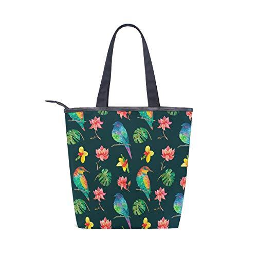 BKEOY - Bolsa de mano grande para el hombro, diseño de flores, acuarela y pájaros