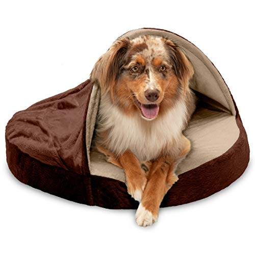 Furhaven Pet Dog Bed - Orthopedic Round Cuddle Nest Micro Velvet Snuggery Blanket Burrow Pet Bed with Removable Cover for Dogs and Cats, Espresso, 26-Inch