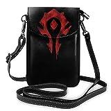 World Warcraft Horde - Bolso bandolera de piel para teléfono celular, bolsa de viaje, bolso de hombro con Cred
