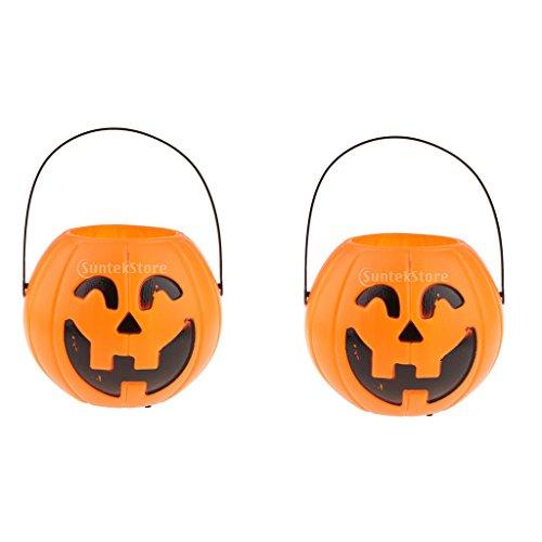 LOVIVER Halloween Kürbis Candy Holder Bucket, Kinder Candy Basket Mit Griff, Candy Bowl - Kürbis-2St, Lächeln Kürbis