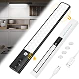 Luz Armario, 50 LED Luces Armarios con Sensor Movimiento USB Recargable Lampara de Armario, Luz Sensor para Armario para Gabinete Pasillo, Escalera, Cocina