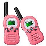 floureon Kids Walkie Talkies Two Way Radios 22 Channel 3000M (MAX 5000M Open Field) UHF Long Range Handheld Talkies Talky (Pink 2)