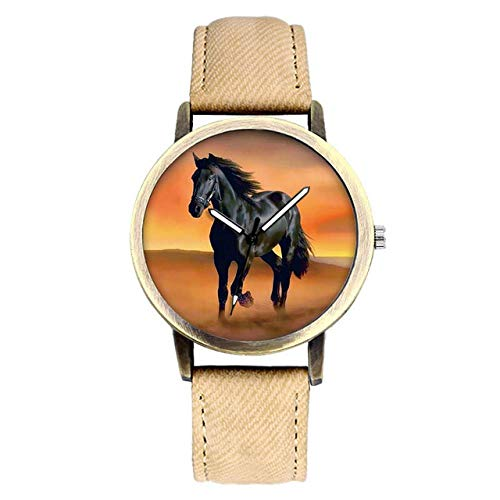 Kinder schauen zu Mode Pferd Quarz Armbanduhr Leder Männer Frauen Charm Armband Uhr
