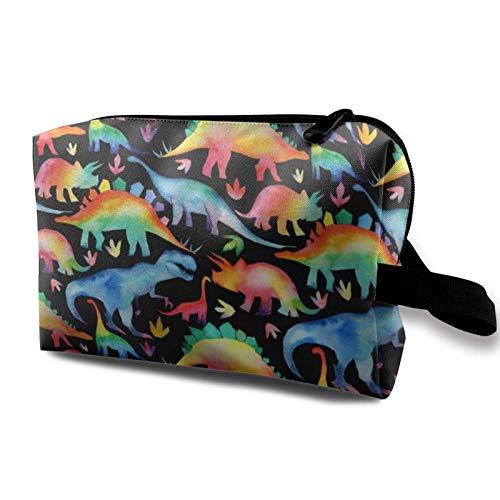 XCNGG Bolsa de almacenamiento de maquillaje de viaje, bolso de aseo portátil, pequeña bolsa organizadora de cosméticos para mujeres y hombres, bosque de dinosaurios
