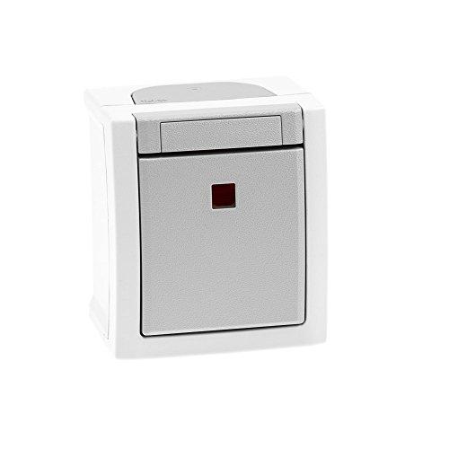 Aufputz Feuchtraum Kontrollschalter/Ausschalter beleuchtet IP54, rot leuchtende Kalotte, Modell Pacific, grau