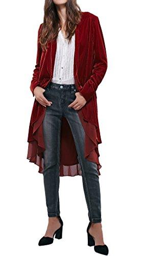 R.Vivimos Damski aksamitny płaszcz z falbanką, krój slim fit, kurtka rekreacyjna, modny klasyk, obszycie jaskółczy ogon