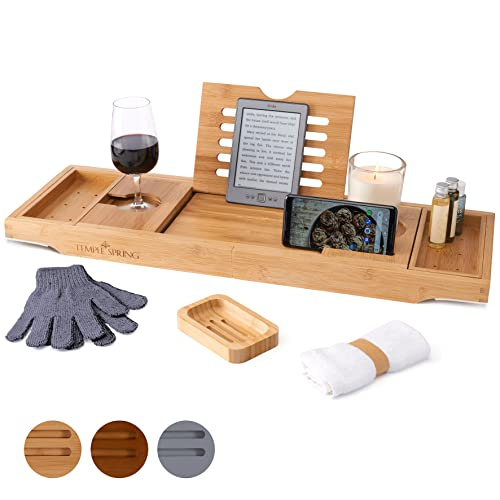 Temple Spring Badewannenablage mit Halter für Kerze, Weinglas, Buch, Tablet, iPad & Telefon Ausziehbare/verstellbare Brücke aus natürlichem Holz als Badewannenablage. Zu 100% aus Bambus (Natürlich)