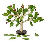 Nrpfell Bloques de Construcción de Madera Juego de árboles para Ni?os Aprendizaje DIY Preescolar de Hombres Juguetes Educativos de Madera Montados En 3D Juego de Azulejos(Hojas Verdes)