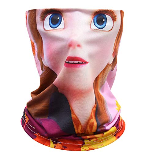 Tsyllyp Kids Cartoon Princess Seamless Face Bandana Headwear Scarf for Dust Outdoor Sport Festivals