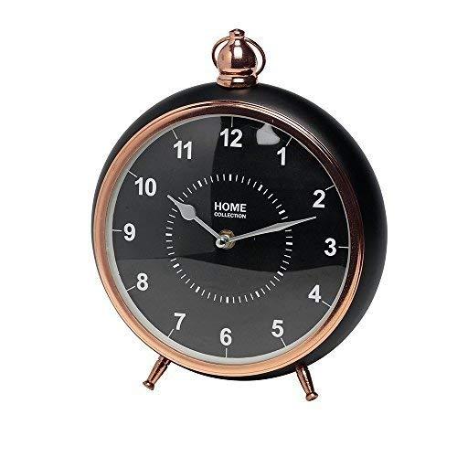 HOME COLLECTION Ø 22cm, H: 26cm Bronze/Schwarz Tischuhr Antik Vintage Retro Metall Standuhr Uhr Kaminuhr