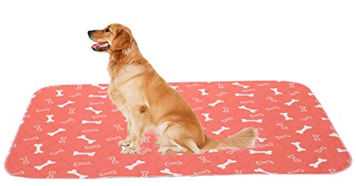 Brabtod 2 Pack Non-Slip Dog Pee Mat Crate Pad for Pets Dogs Foldable and Washable Dog Pads with Puppy Training Pads to Protect Floors, Car, Crate - Red - Large Bed Mats