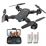 WiFi FPV Drone with 1080P HD Camera, 40 Mins Flight Time,Foldable Drone for Beginners,Altitude Hold Mode, RTF One Key Take Off/Landing,3D Flips 2 Batteries, APP Control, Easy Toy for Kids & Adults