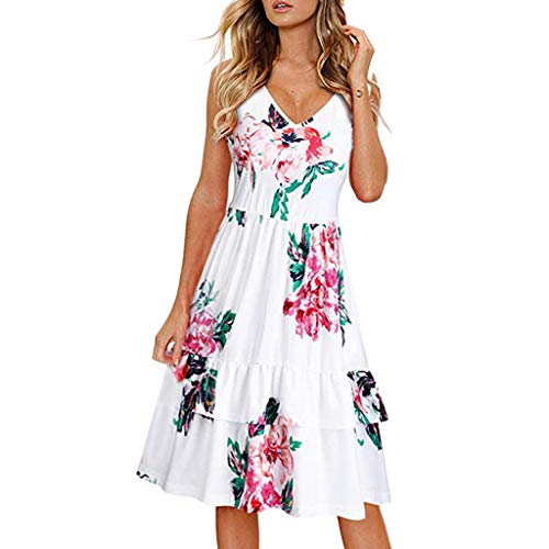 Find Bargain Women's Floral Printed Midi Dress V-Neck Sleeveless Layered Ruffle Casual Dresses Summe...
