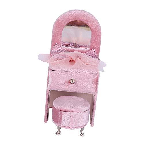 harayaa Pink Bowknot Joyero Caja de Almacenamiento de Anillos con Forma de Tocador de Terciopelo
