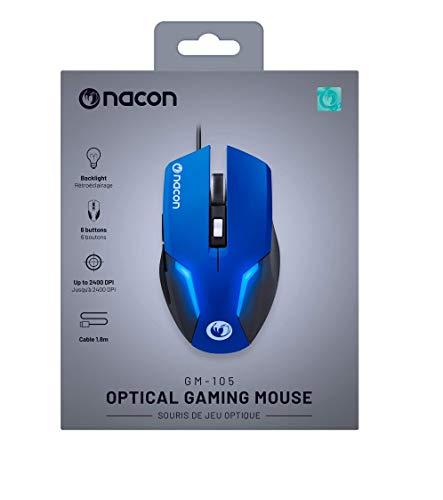 NACON GM-105 Maus USB Optisch 2400 DPI Linkshändig - Mäuse (Linkshändig, Optisch, USB, 2400 DPI, Schwarz, Blau)