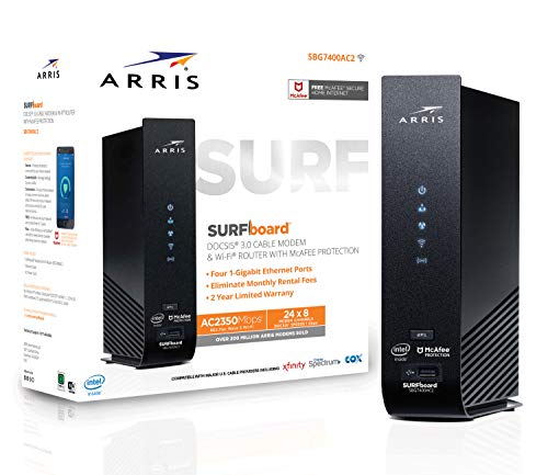 ARRIS SURFboard (24x8) DOCSIS 3.0 Cable Modem Plus AC2350 Dual Band Wi-Fi Router, approved for Cox, Spectrum, Xfinity & more (SBG7400AC2)