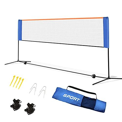 FENRIR Badminton Netz Tennisnetz 4m Tragbares Volleyball mit Verstellbaren Höhen faltbares Federballnetz Outdoor Trainingsnetz,3 Höhe: 85/120/155cm