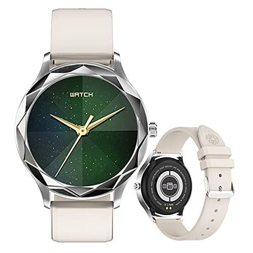 Smartwatch Mujer, Reloj Inteligente Impermeable IP67, Pulsera de Actividad Inteligente con Monitor de Ciclo Menstrual Femenino Sueño Pulsómetro Podómetro Contador de Caloría para Android iOS,Blanco