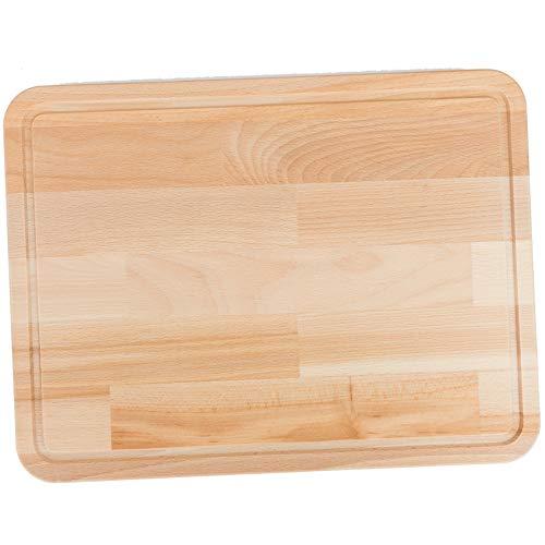 Snijplank hout groot met sapgoot. De perfecte snijmat voor het grillen en koken. 3 cm dik. Massief beukenhout. Aan beide zijden bruikbaar. keukenplank, houten snijplank en broodsnijplank.