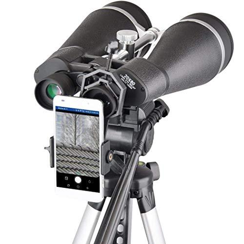 HAO Prismáticos de astronomía 20x80, Binocular Gigante con Adaptador de trípode Reforzado, Funda de Transporte, Escudo Protector y Adaptador de teléfono Digiscoping.