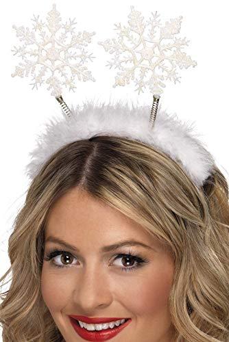 Smiffys Serre-tête flocon de neige, Blanc, sur un bandeau