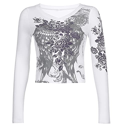 Camiseta de manga larga con estampado Y2K para mujer sexy con cuello redondo y cuello redondo, blanco, L