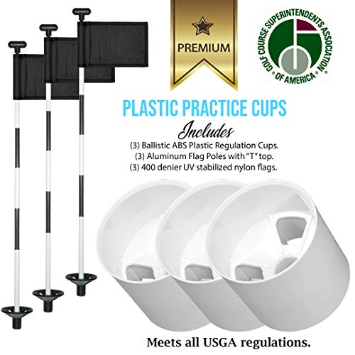 Golf City Products Golf Flag and Cup for Yard Practice Set, Mini Putting Green Flags and Poles, Set Includes 3 Golf Cups for Putting Green + 3 Golf Flags for Yard + 3 Golf Flagstick
