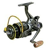 Carrete de pesca YUMOSHI 10 + 1 rodamientos de bolas Sistema de freno doble trasero delantero Carrete de pesca de fundición de cebo de bobina de metal para pesca al aire libre y (color: negro)