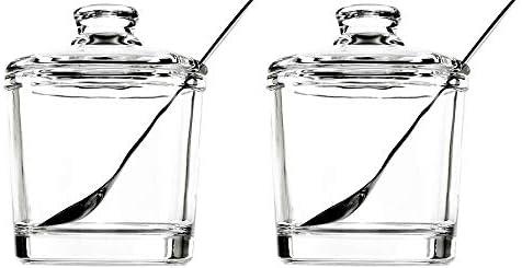 123Arts Glass Sugar Bowl Spice Jar Seasoning Pots with Lid Spoon product image