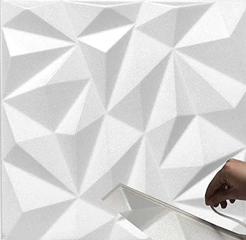 5qm / 3D Wandpaneele !!!Selbstklebend!!! Wandverkleidung Deckenpaneele Platten Paneele ZIRKON Weiß POLYSTYROL MATERIAL (5qm = 20Stück)