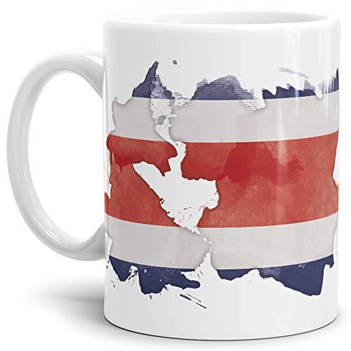 Tassendruck Flaggen-Tasse Costa Rica Rica Weiss - Fahne/Länderfarbe/Wasserfarbe/Aquarell/Cup/Tor/Qualität Made in Germany