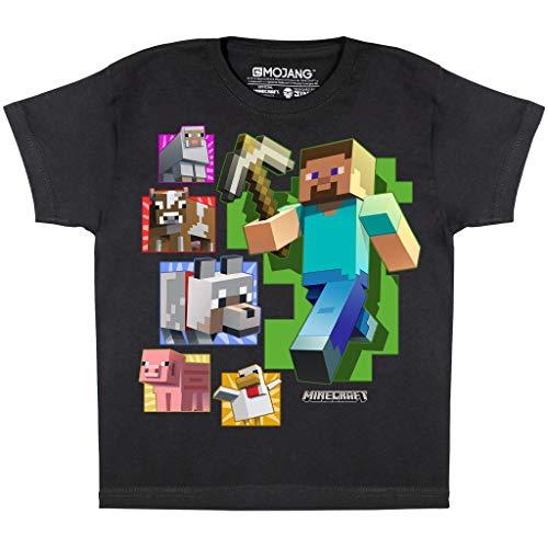 Minecraft Steve et Amis Garçons T-Shirt Noir 158   PS4 PS5 Xbox PC Gamer, Commutateur Cadeaux Tween Ados Boys School Jeux Top, Vêtements pour Enfants, badine l'anniversaire Idée Cadeau