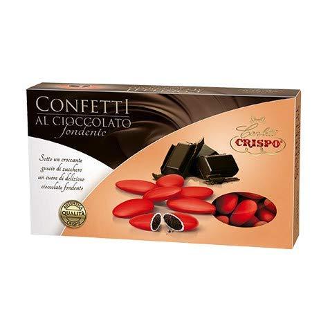 Confetti ROSSO colorati confezione 1kg - confetti ROSSI al cioccolato fondente - ideali per laurea, compleanno, anniversario, promessa, comunione, matrimonio (Rosso)