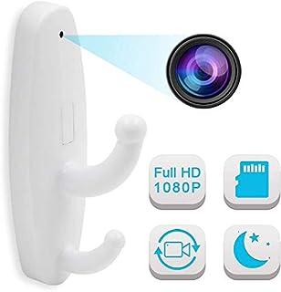 隠しカメラ フック型カメラ i-pelay 衣装フック型カメラ HD 1920×1080P 高画質防犯カメラ スパイカメラ 小型ビデオカメラ 監視カメラ セキュリティー 録画/動体検知録画 日本語取り扱い説明書付き 両面テープ付 (ホワイト)