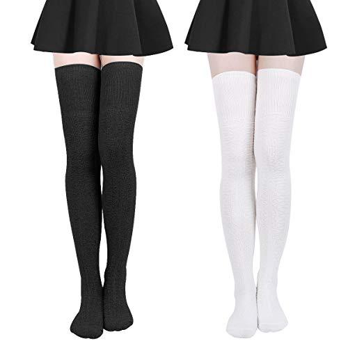 Damen Kniestrümpfe - Overknee Strümpfe Streifen Lange Socken Retro Knitting Strümpfe Mädchen Cheerleader Sportsocken Baumwollstrümpfe (Schwarz weißC), Schwarz weißc, Durchschnittlicher Code