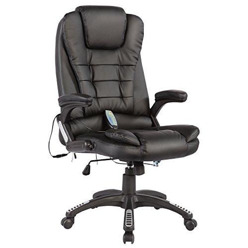 mecor Massage Stuhl Massagesessel Massage Bürostuhl mit Heizung 6-Massage-Pünkte Relax Sessel Schwarz