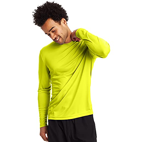 Hanes Men's Long Sleeve Cool Dri T-Shirt UPF 50+, Large, 2 Pack ,Safety Green