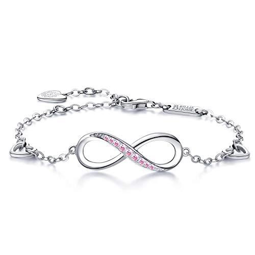 Billie Bijoux Pulsera de plata esterlina Mujer Símbolo Amor Infinito Brazalete de mujer ajustable regalo ideal el día de San Valentín para mamá (rosado) (Pink)
