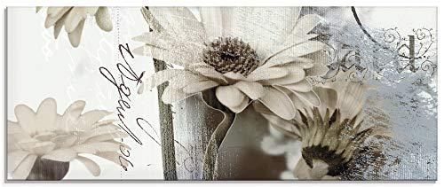 Artland Glasbilder Wandbild Glas Bild einteilig 125x50 cm Querformat Blumen Blüten Gerberas Schriftzug Shabby Chic T4RU
