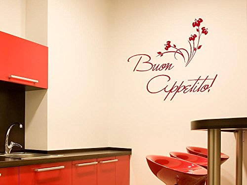 GRAZDesign Küchendeko Dekorfolie Guten Appetit, Wandgestaltung Küche Blumen, Wandtattoo Küche Sprüche / 62x50cm / 091 Gold