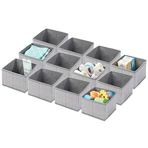 mDesign 12er-Set Aufbewahrungsbox für Kinderzimmer und Bad – Faltbare Kinderzimmer Aufbewahrungsbox mit Fischgrätenmuster – stilvoller Kinderschrank Organizer aus Kunstfaser – grau