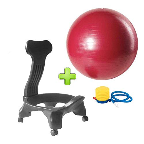 Silla De Pelota De Fitness for Yoga, Pilates, Bienestar Live Up Balance Silla De Postura De Pelota con Ruedas (Color : Red)