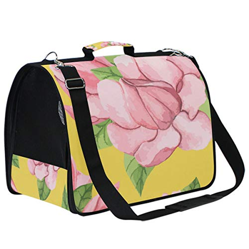 AMONKA Transporttasche für kleine und mittelgroße Katzen, mit magnolienfarbener Blume, zusammenklappbar, für Welpen, mit bequemer Ersatzmatte